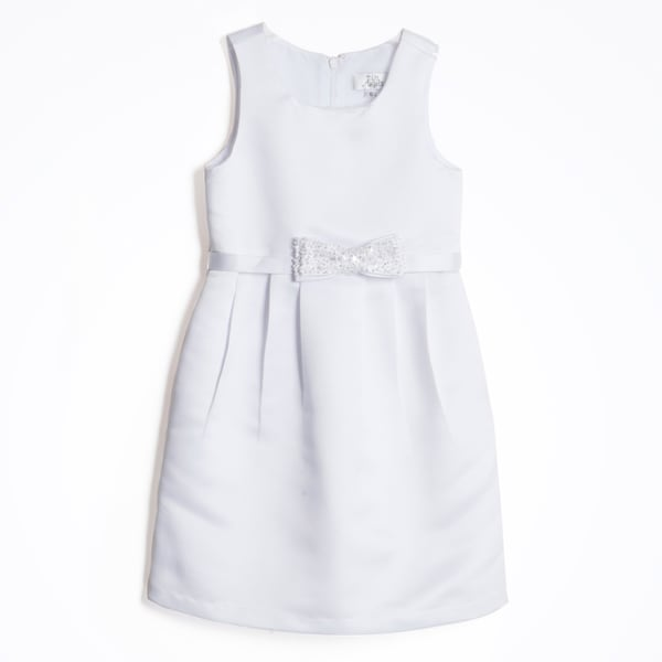 Us Angels Girl's White Pleated Front Sleeveless Dress