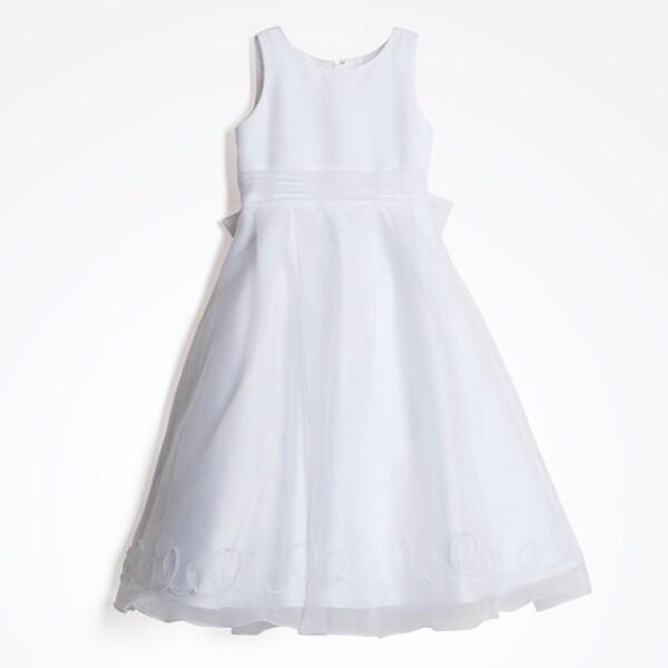 Us Angels Girl's White Sheer Overlay Formal Dress