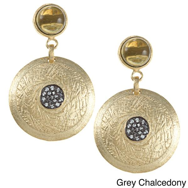 Rivka Friedman Esha Gemstone Post Textured Circle CZ Dangle Earrings
