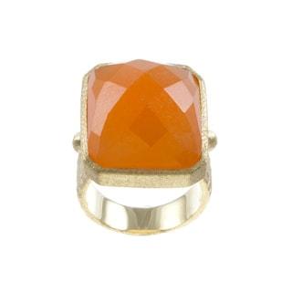 Rivka Friedman Goldtone Orange Quartzite Rectangle Pebbled Shank Ring