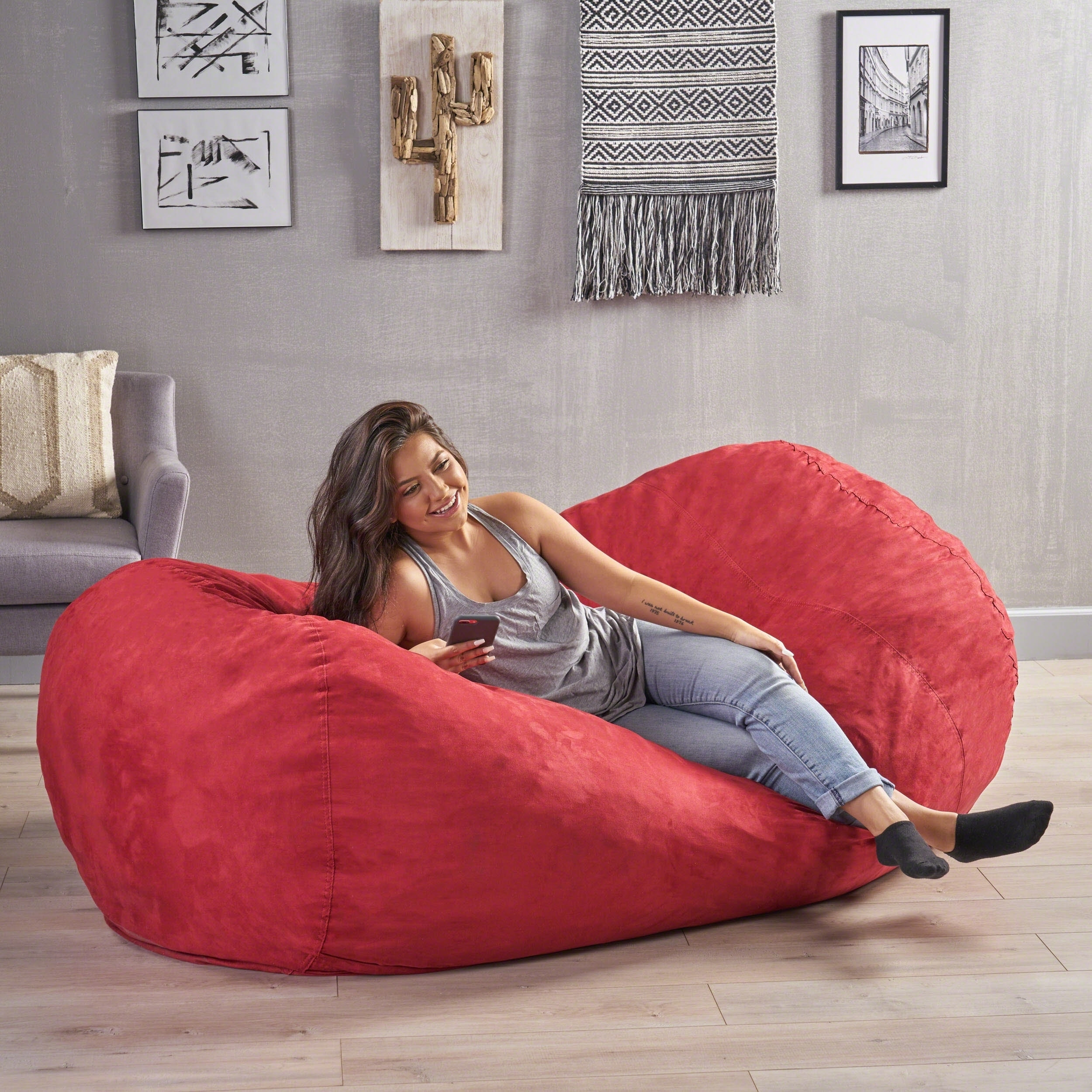 Stupendous Larson Faux Suede 8 Foot Lounge Beanbag Chair By Christopher Machost Co Dining Chair Design Ideas Machostcouk