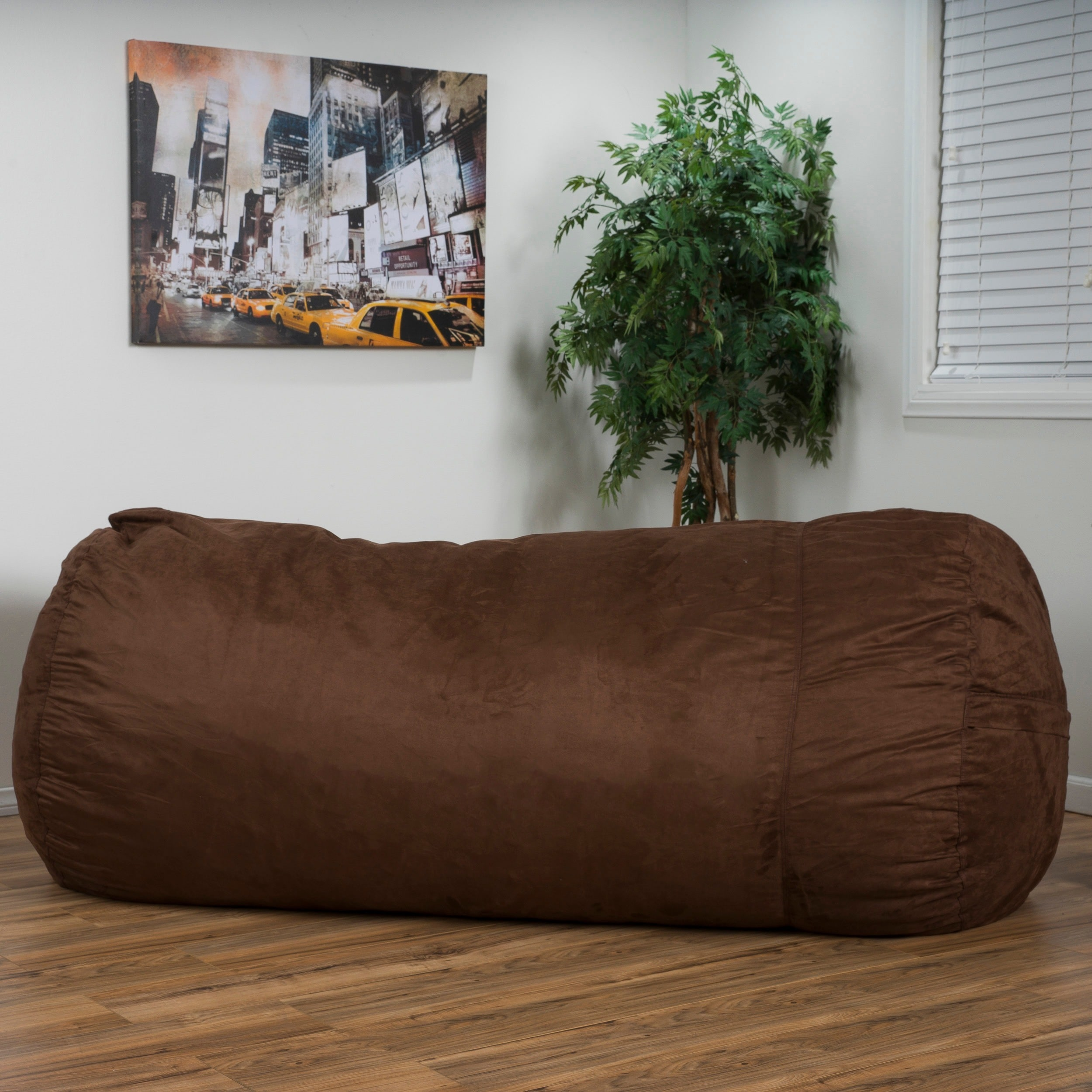Larson Faux Suede 8-foot Lounge Beanbag Chair by Christop...