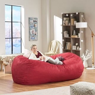 Larson Faux Suede 8-foot Lounge Beanbag Chair by Christopher Knight Home (Option: Red)