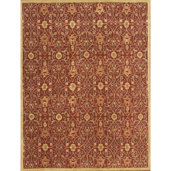 Alliyah Hand-tufted Delhi Burgundy/ Gold New Zeeland Wool Rug (10 x 14)