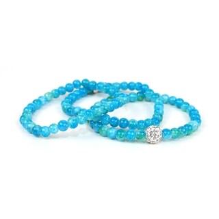 Pretty Little Style Silvertone Rhinestone Glass Bead Bracelets