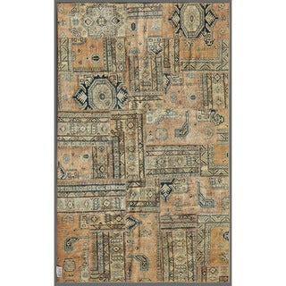 Herat Oriental Pak Persian Hand-knotted Patchwork Multi-colored Indoor Wool Rug (4'11 x 7'9)