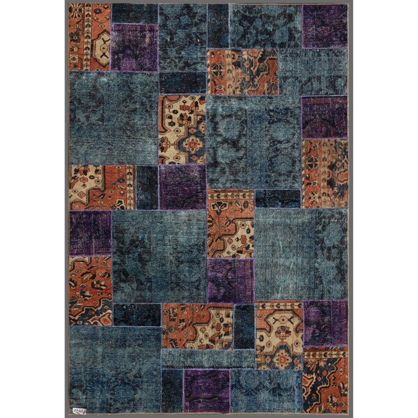"""Pak Persian Hand-Knotted Patchwork Multicolored Wool Indoor Rug (5'10"""" x 8'10"""")"""