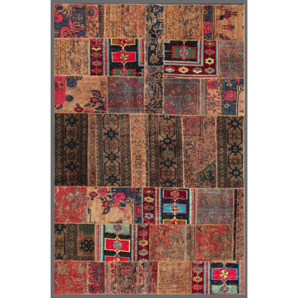 Pak Persian Hand-knotted Patchwork Multi-colored Wool Rug (5'2 x 7'10)