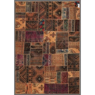 Herat Oriental Pak Persian Hand-knotted Patchwork Multi-colored Wool Rug (5'2 x 7'8)