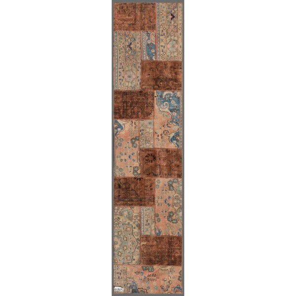 Pak Persian Hand-knotted Patchwork Multi-colored Wool Rug (2'4 x 10')