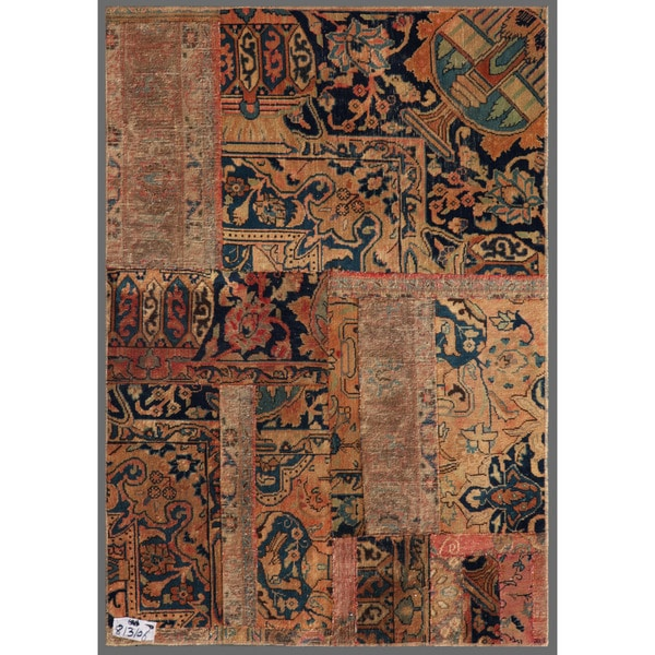 Pak Persian Hand-knotted Patchwork Multi-colored Wool Rug (3'8 x 5'2)