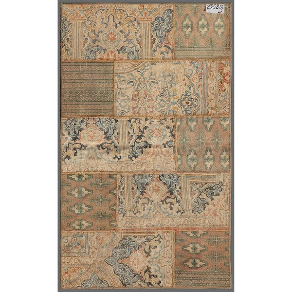 Pak Persian Hand-knotted Patchwork Multi-colored Wool Rug (2'11 x 4'11)