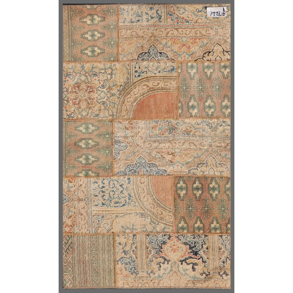 Pak Persian Hand-knotted Patchwork Multi-colored Wool Rug (2'10 x 4'10)