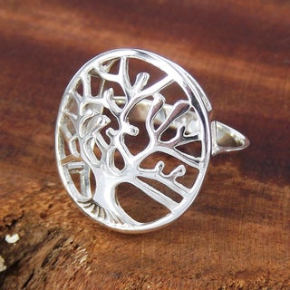 Handmade Sterling Silver Serene Winter Tree Ring (Thailand)