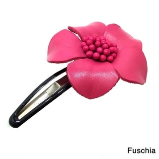 Genuine Leather Sweet Azalea Flower Barrette Hairclip (Thailand)