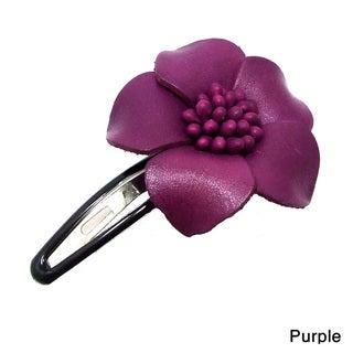 Genuine Leather Sweet Azalea Flower Barrette Hairclip (Thailand)