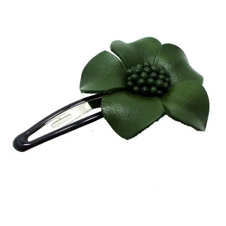 Handmade Genuine Leather Sweet Azalea Flower Barrette Hairclip (Thailand) (Option: Green)