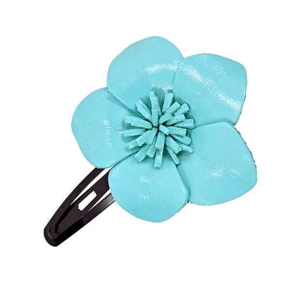 Handmade Genuine Leather Sweet Azalea Flower Barrette Hairclip (Thailand)
