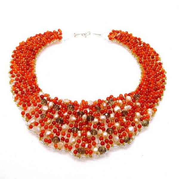 Handmade Chic Beauty Mix Orange Stone Collar Statement Necklace (Thailand)