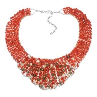 Handmade Chic Beauty Mix Orange Stone Collar Statement Necklace (Thailand)