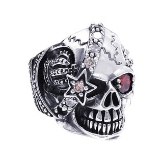 Sterling Silver Punk Skull Crown Star Cubic Zirconia Ring (Thailand)