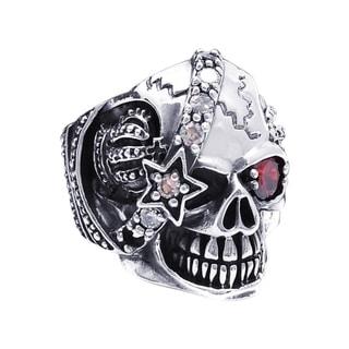 Handmade Sterling Silver Punk Skull Crown Star Cubic Zirconia Ring (Thailand)