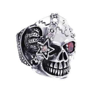 Handmade Sterling Silver Punk Skull Crown Star Cubic Zirconia Ring (Thailand)|https://ak1.ostkcdn.com/images/products/7673976/7673976/Sterling-Silver-Punk-Skull-Crown-Star-Cubic-Zirconia-Ring-Thailand-P15084969.jpg?impolicy=medium