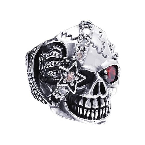 Handmade Sterling Silver Punk Skull Crown Star Cubic Zirconia Ring (Thailand)