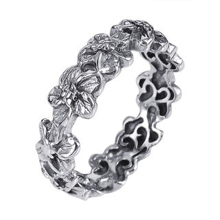Handmade Sterling Silver Plumeria Flowers Eternity Band Ring (Thailand)