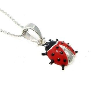Handmade Sterling Silver Lady Bug Necklace (Thailand)