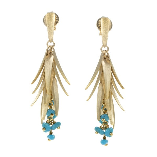 Rivka Friedman Turquoise Gem Accent Chili Earrings