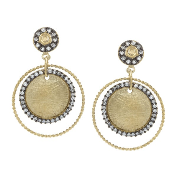 Rivka Friedman Esha Round CZ Dangle Earrings