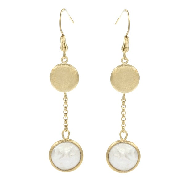 Rivka Friedman Coin Pearl Cascading Pebble and Gem Dangle Earrings