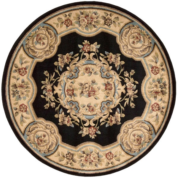 Aubusson Collection Black Wool Blend Rug (5'3 Round)