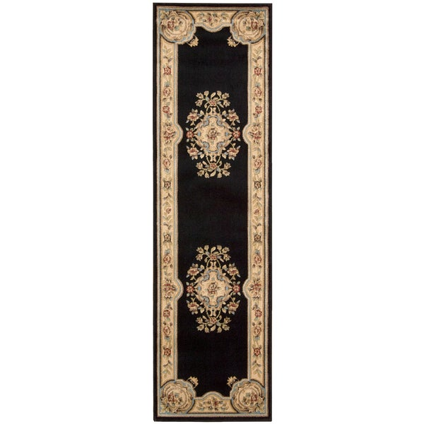 Aubusson Collection Black Wool Blend Runner Rug (2'3 x 8')