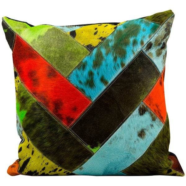 Mina Victory Natural Leather and Hide Jersey Design Multicolor Throw Pillow (20-inch x 20-inch) by Nourison