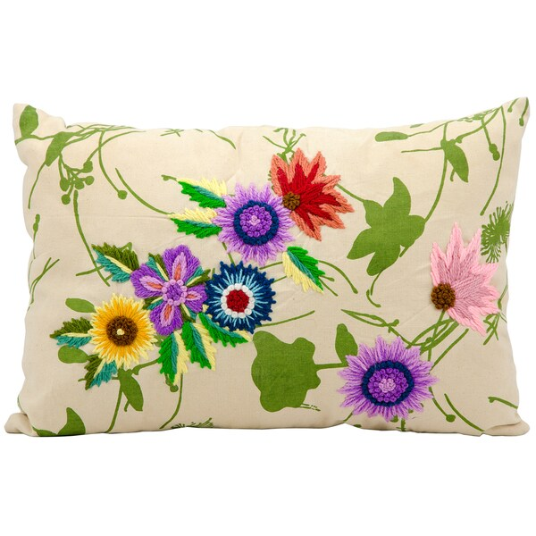Mina Victory Lifestyle Flower Garden Ivory Throw Pillow (14-inch x 20-inch) by Nourison