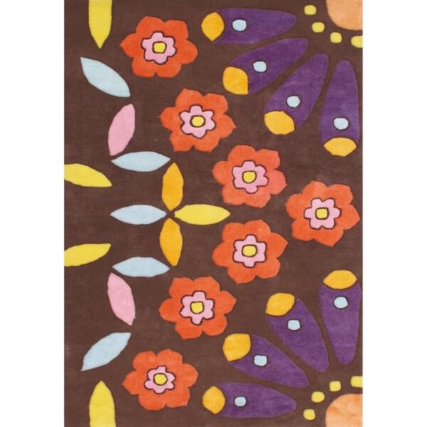 Alliyah Handmade Choco Brown New Zealand Blend Wool Rug - 8' x 10'