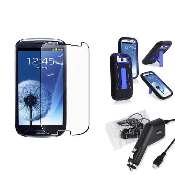 INSTEN Case Cover/ Car Charger/ LCD Protector for Samsung Galaxy S III/ S3