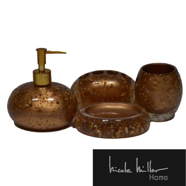 Nicole Miller Gold Rush Bath Accessory 4-piece Set
