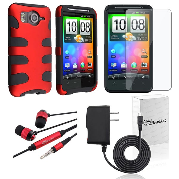 BasAcc Red Case/ Protector/ Headset/ Charger for HTC Inspire 4G