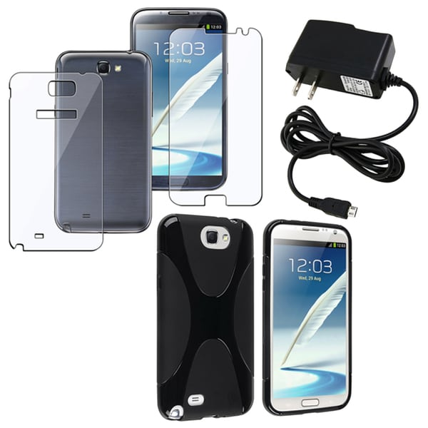 BasAcc Black Case/ Protector/ Charger for Samsung Galaxy Note 2