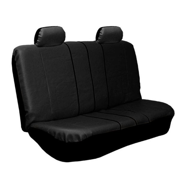 Suburban Bench Seat Part - 35: FH Group Black PU Leather Universal Full Set Solid Bench Seat Covers - Free  Shipping Today - Overstock.com - 15086604