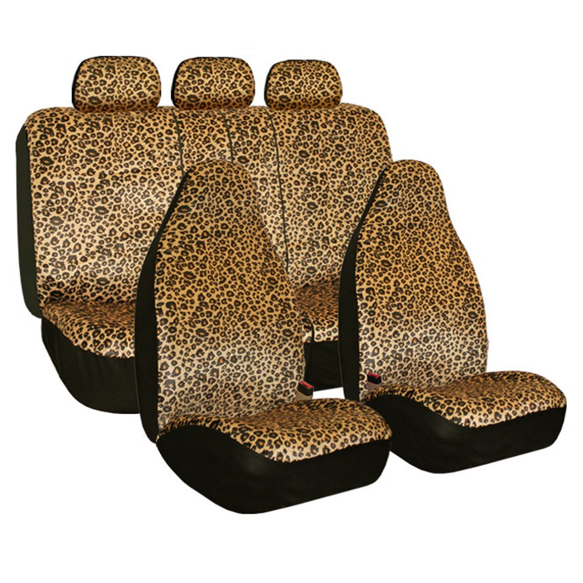 FH Group Leopard Print Velour Airbag Compatible and Split...