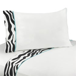 Sweet JoJo Designs 200 Thread Count Turquoise Funky Zebra Bedding Collection Sheet Set (2 options available)
