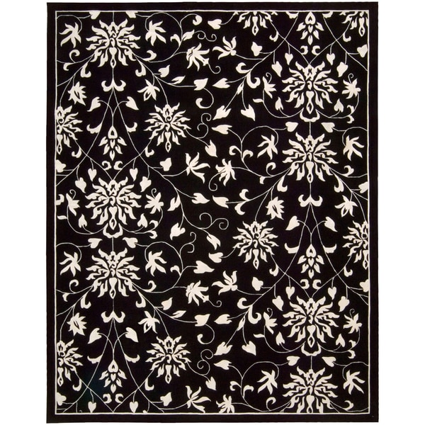 Nourison Hand-tufted Versailles Palace Floral Black/White Rug (5'3 x 8'3)