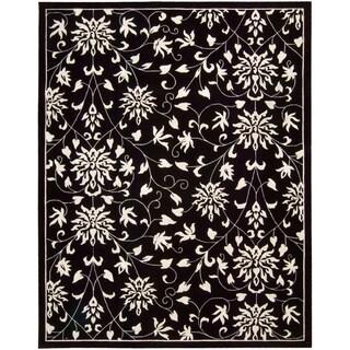Nourison Hand-tufted Versailles Palace Floral Black/White Rug (9'6 x 13'6)