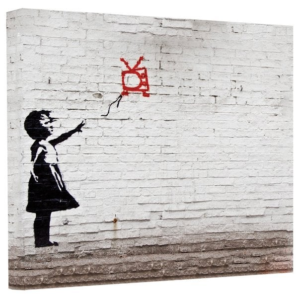 Banksy 'Balloon TV Girl' Gallery Wrapped Canvas