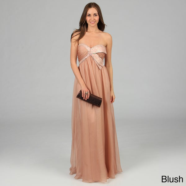 Issue New York Women's Long Pleated Sequin Embellished Evening Dress