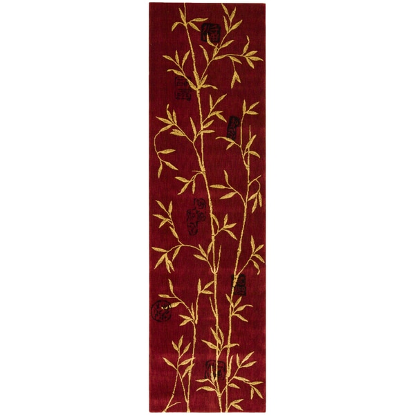 Chambord Asian Rayon from Bamboo Red Runner Rug (2' x 5'9)